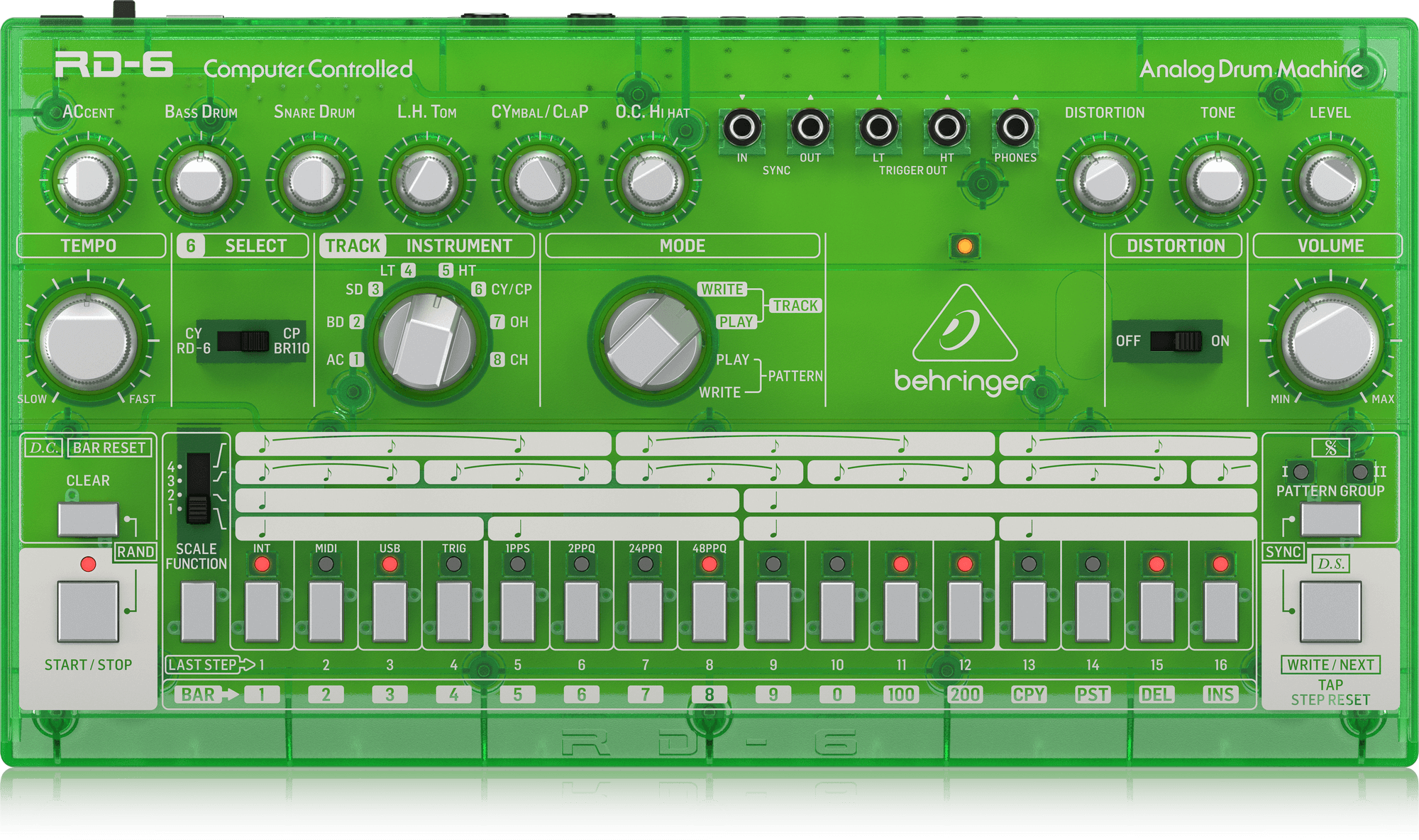 Analoge Drum Maschine RD-6 Grün Transparent mit 8 Drum-Sound /& 16-Step Sequenzer