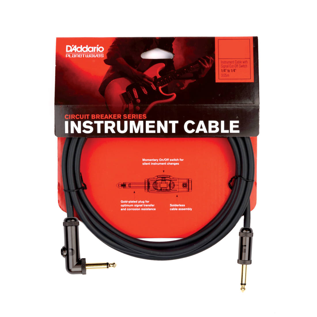 planet waves circuit breaker guitar cable with right angle. Black Bedroom Furniture Sets. Home Design Ideas