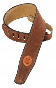Long & McQuade Suede Leather Guitar Strap - Brown