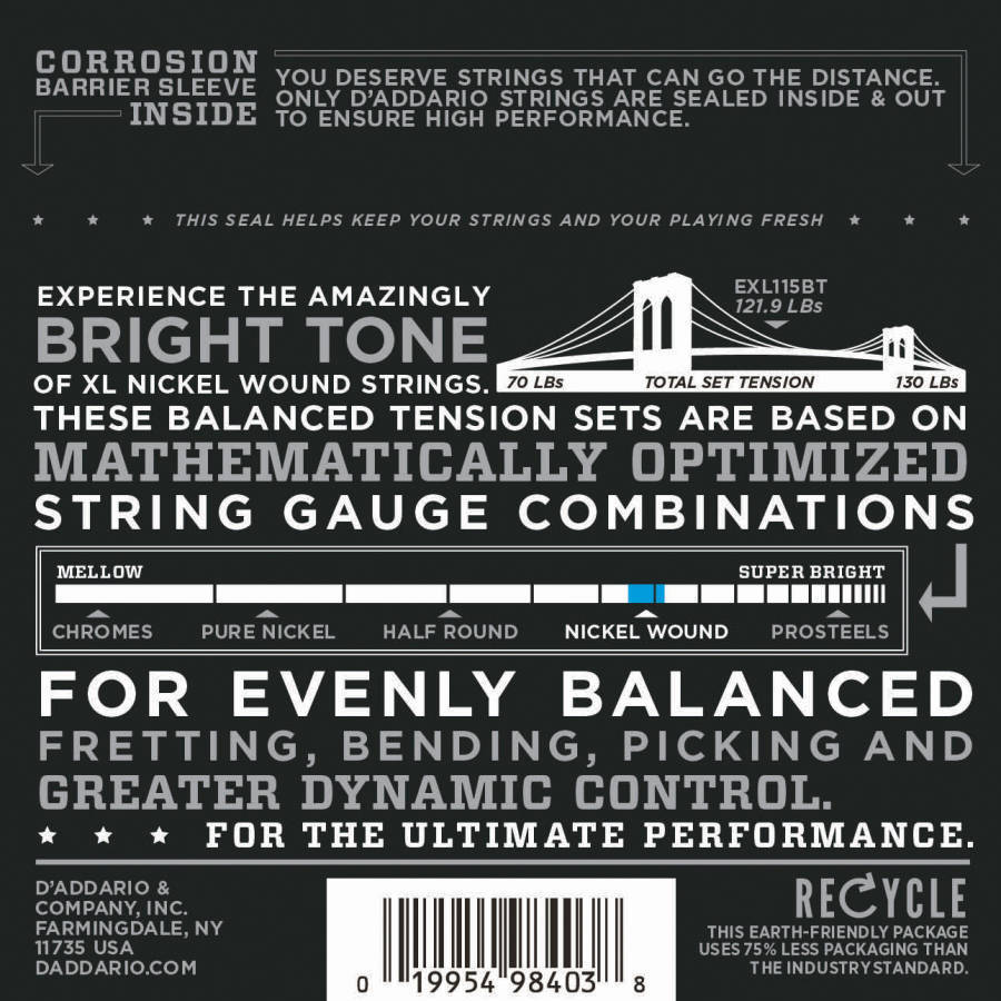 d 39 addario exl115bt nickel wound balanced tension electric guitar strings 11 to 50 long. Black Bedroom Furniture Sets. Home Design Ideas