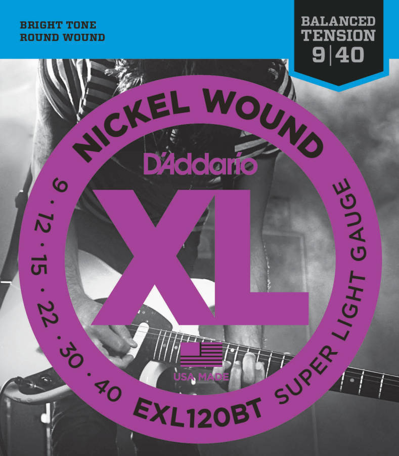 d 39 addario exl120bt nickel wound balanced tension electric guitar strings 9 to 40 long. Black Bedroom Furniture Sets. Home Design Ideas