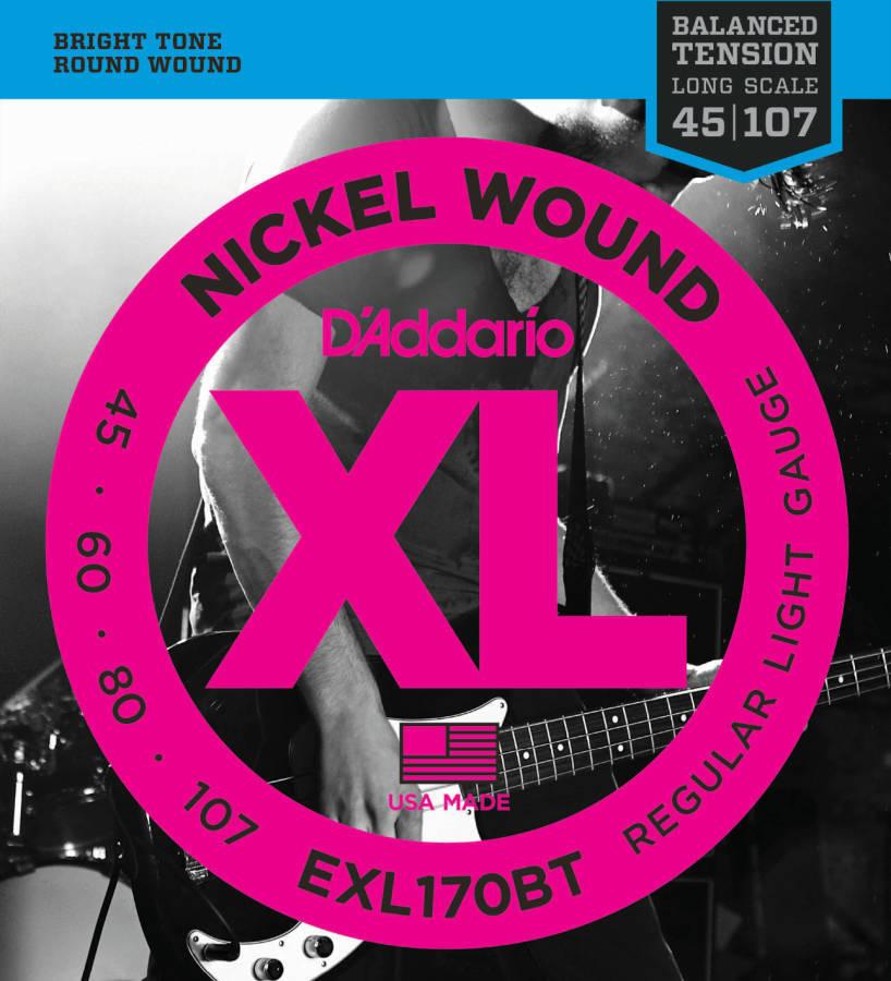 d 39 addario exl170bt nickel wound balanced tension bass guitar strings 45 to 107 long. Black Bedroom Furniture Sets. Home Design Ideas