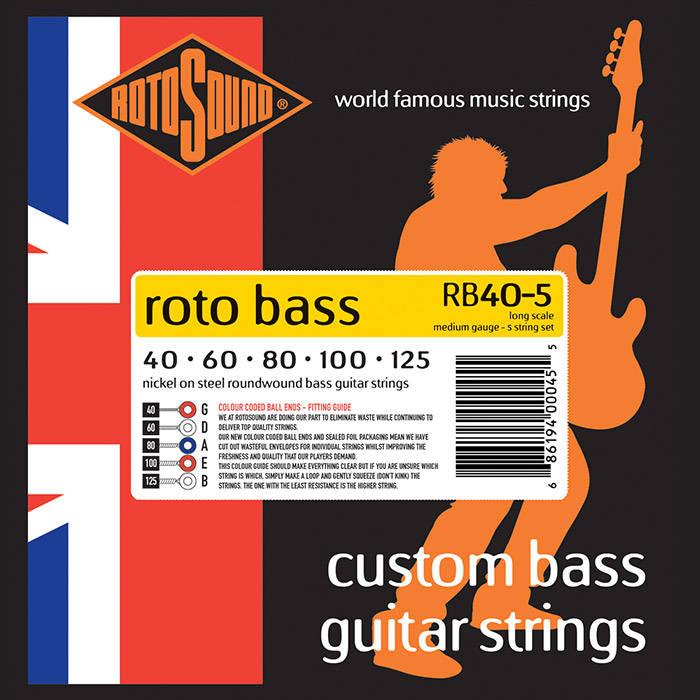 Roto Sound Rotobass Unsilked 5 String Bass Guitar Set 40 125