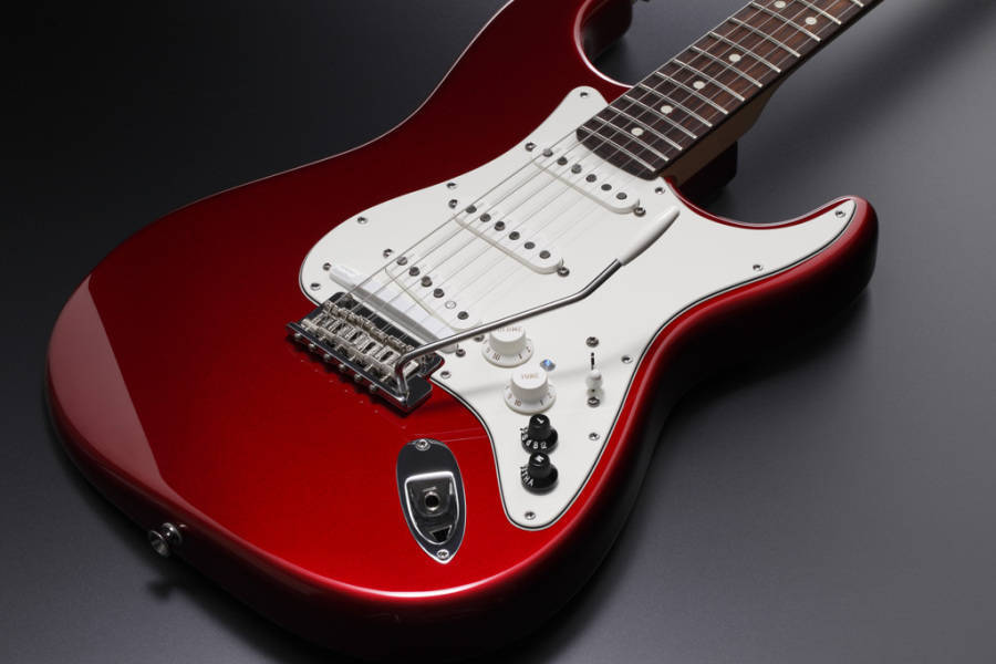 roland roland fender vg american stratocaster candy apple red long mcquade musical instruments. Black Bedroom Furniture Sets. Home Design Ideas
