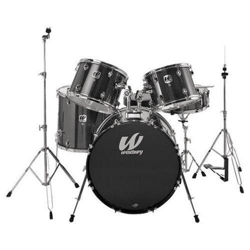 westbury 5 piece drum kit with hardware black long mcquade musical instruments. Black Bedroom Furniture Sets. Home Design Ideas