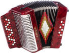 Carlton - Diatonic Accordion A/D/G - Red