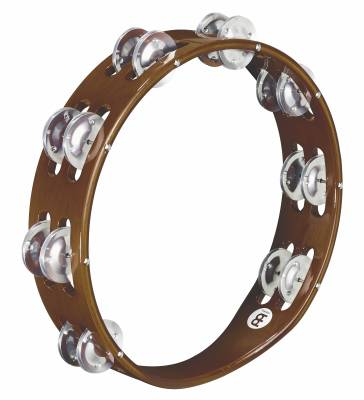 Traditional Wood Tambourine - Aluminum Jingles