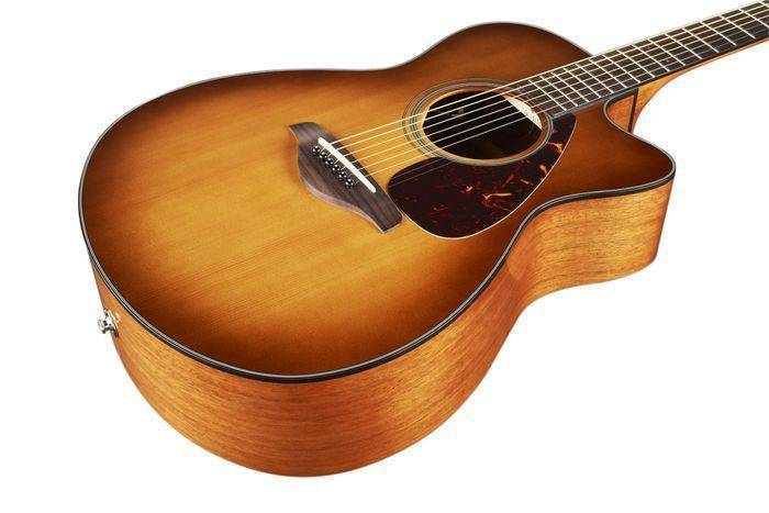 Yamaha solid top concert acoustic electric guitar small for Yamaha solid top