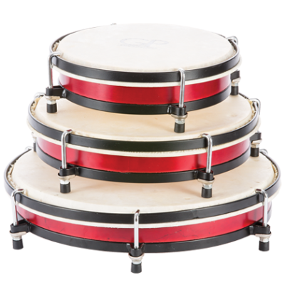 Wood Professional Tunable Hand drums - Set of 3 (8, 10, 12-inch) - Wine Red