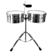 Granite Percussion - Professional Timbale Set (13 & 14 inch) with Stand & Cowbell - Chrome
