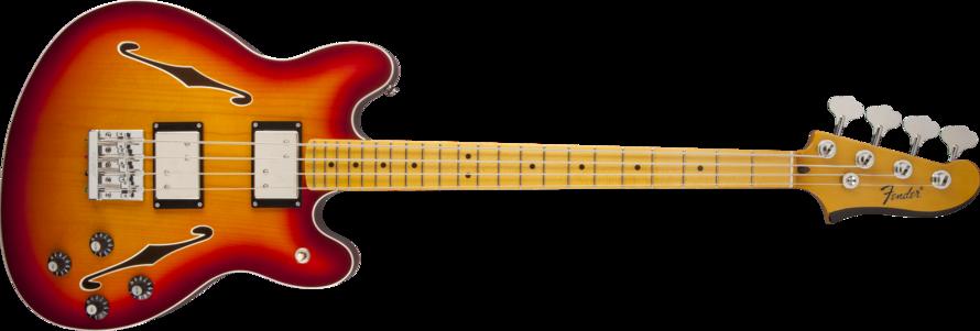 fender starcaster maple neck bass guitar aged cherry burst long mcquade musical instruments. Black Bedroom Furniture Sets. Home Design Ideas