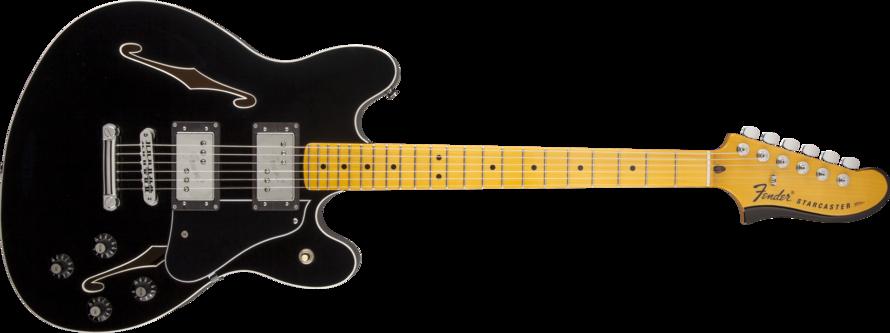 Fender Starcaster Maple Neck Guitar Black Long