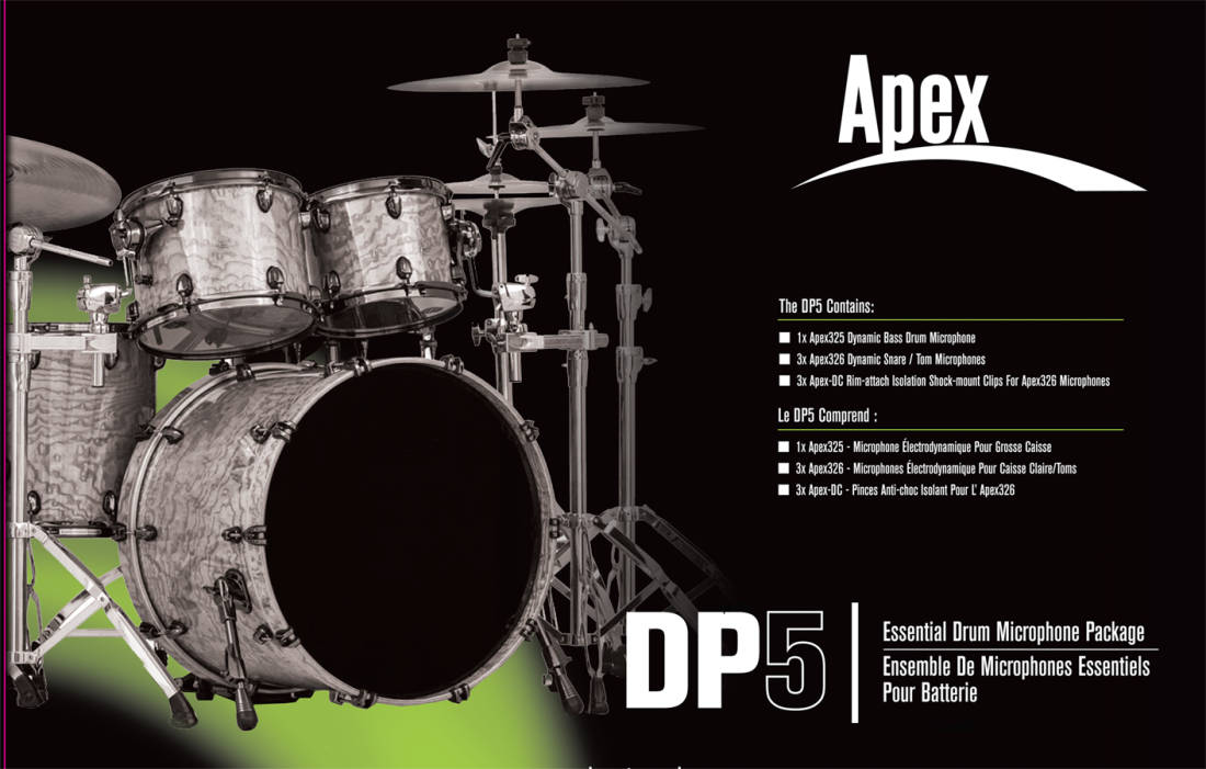 apex basic drum microphone pack long mcquade musical instruments. Black Bedroom Furniture Sets. Home Design Ideas