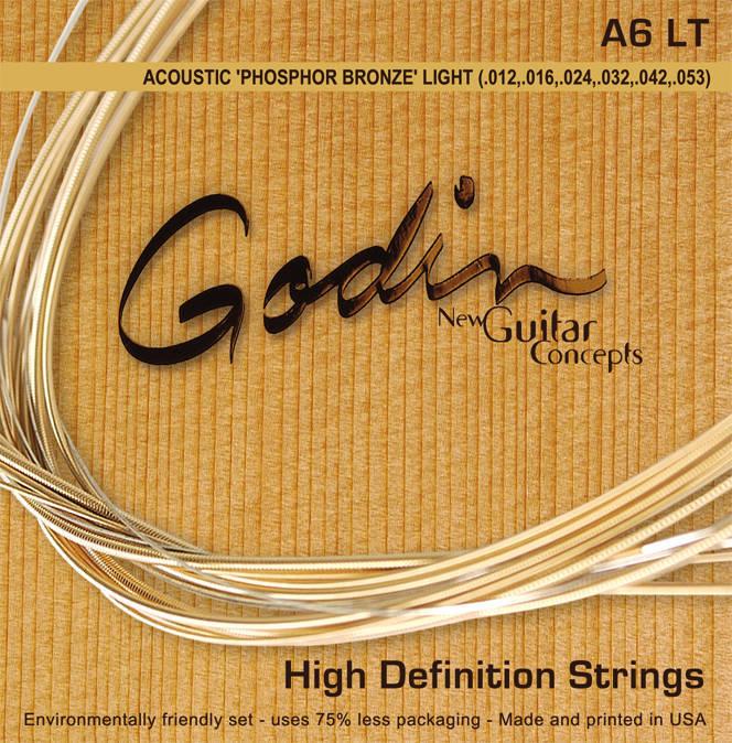 godin guitars a6 phosphor bronze acoustic guitar string set light long mcquade musical. Black Bedroom Furniture Sets. Home Design Ideas