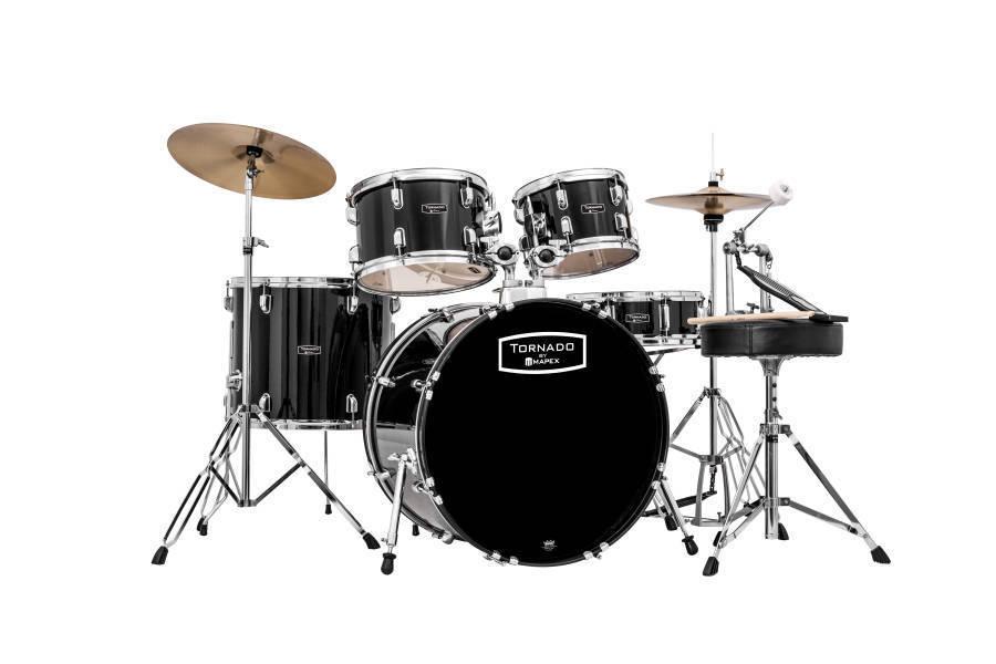 mapex tornado rock drum set in black long mcquade musical