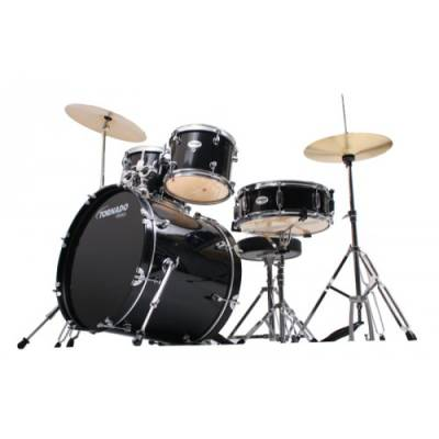 Tornado Complete Rock Kit in Black - 20,10,12,14 & Snare Drum
