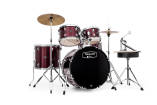 Tornado Complete Rock Kit in Burgundy - 20,10,12,14 & Snare Drum