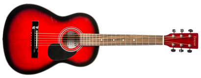 denver acoustic guitar 3 4 size red long mcquade musical instruments. Black Bedroom Furniture Sets. Home Design Ideas
