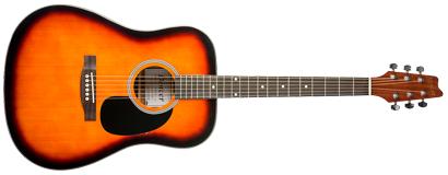 denver acoustic guitar full size sunburst long mcquade musical instruments. Black Bedroom Furniture Sets. Home Design Ideas