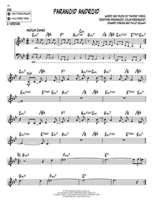 Hal Leonard Radiohead Jazz Play Along Volume 171 Bookcd Long