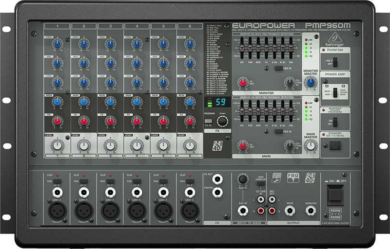 behringer 900 watt 6 channel powered mixer w multi fx processor long mcquade musical instruments. Black Bedroom Furniture Sets. Home Design Ideas