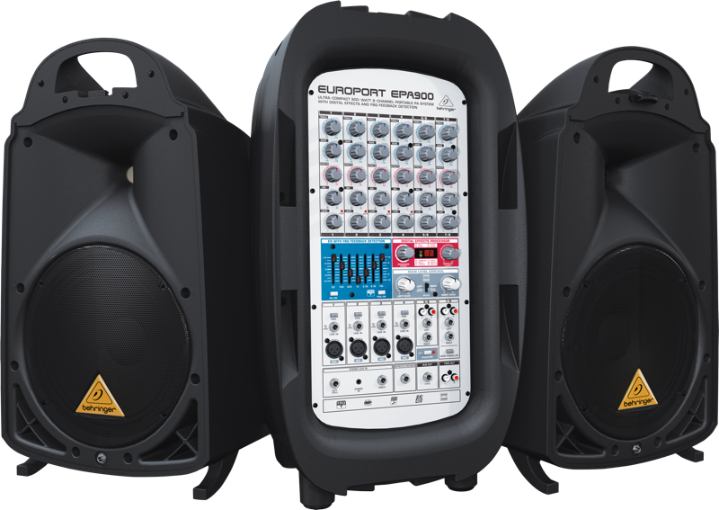 behringer 900 watt 8 channel portable pa system long mcquade musical instruments. Black Bedroom Furniture Sets. Home Design Ideas