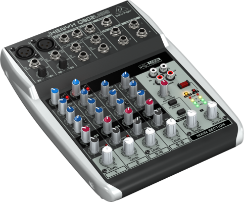 8 Input 2 BUS Mixer w/USB Audio Interface