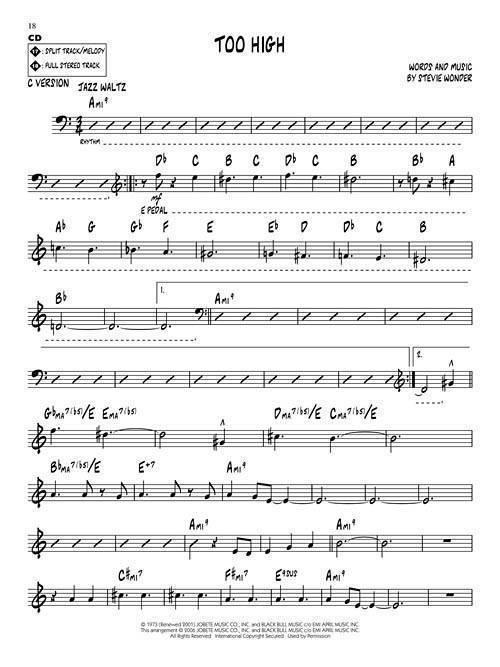 Stevie Wonder: Jazz Play Along Volume 52 - Book/CD