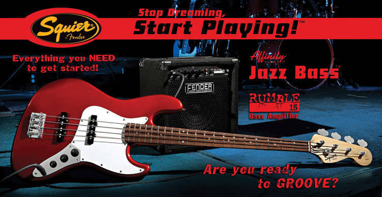 squier affinity jazz bass pack with rumble 15 amp metallic red long mcquade musical. Black Bedroom Furniture Sets. Home Design Ideas