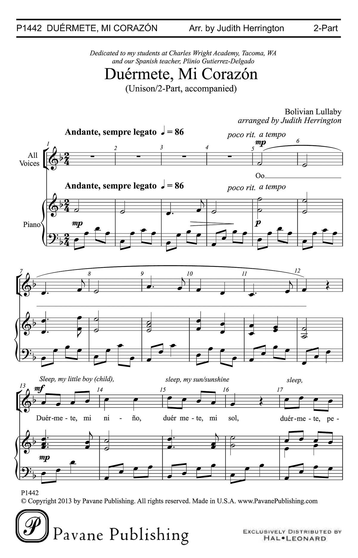 Pavane Publishing Duermete Mi Corazon - Bolivian Lullaby/Herrington ...