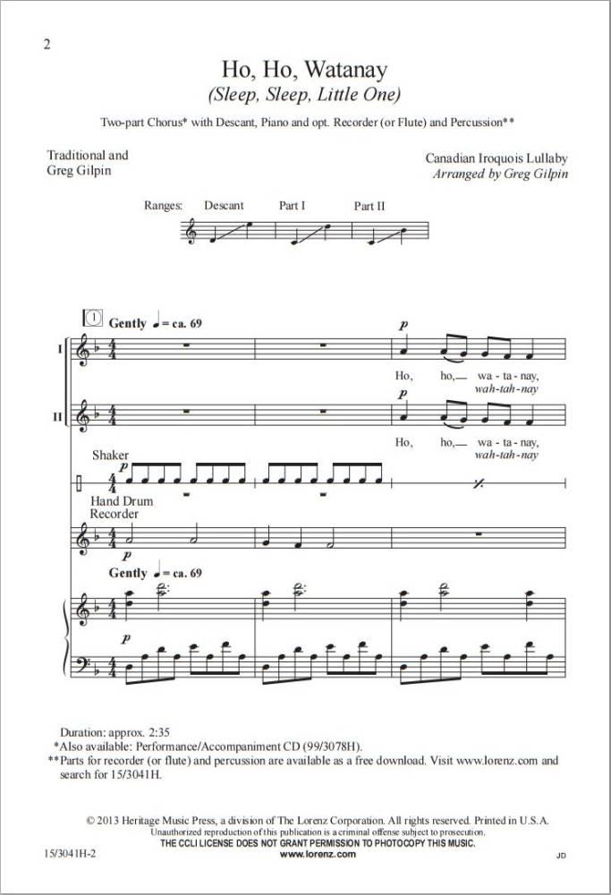 Ho, Ho, Watanay (Sleep, Sleep, Little One) - Iroquois Lullaby/Gilpin - 2pt