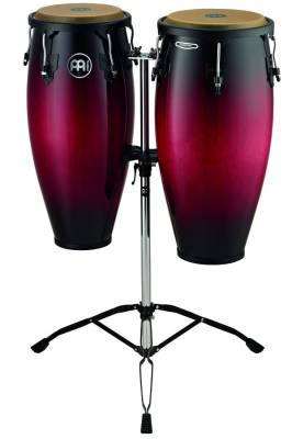 Headliner Wood Congas 10 & 11 inch with Stand, Wine Red Burst