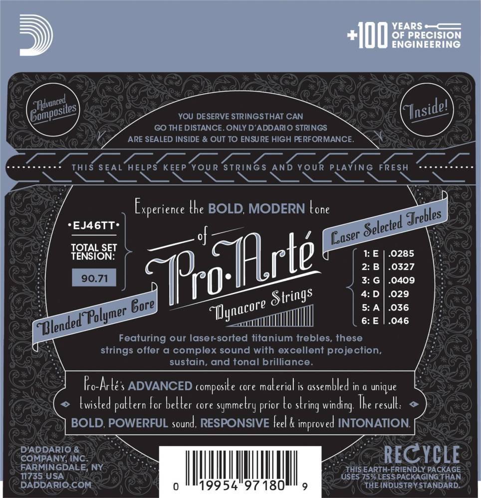 d 39 addario ej46tt proarte dynacore classical guitar strings titanium trebles hard tension long. Black Bedroom Furniture Sets. Home Design Ideas