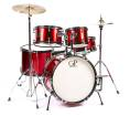 5 Piece Junior Drum Set w/Cymbals, Stands, Pedal & Throne - Metallic Red