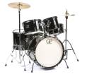 Granite Percussion - 5 Piece Junior Drum Set w/Cymbals, Throne & More - Black
