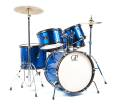 Granite Percussion - 5 Piece Junior Drum Set w/Cymbals, Throne & More - Blue