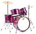 Granite Percussion - 5 Piece Junior Drum Set w/Cymbals, Throne & More - Pink