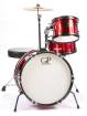 Granite Percussion - 3 Piece Junior Kit w/Cymbals, Throne & More - Metallic Red