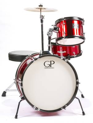 3 Piece Junior Kit w/Cymbals, Throne & More - Metallic Red