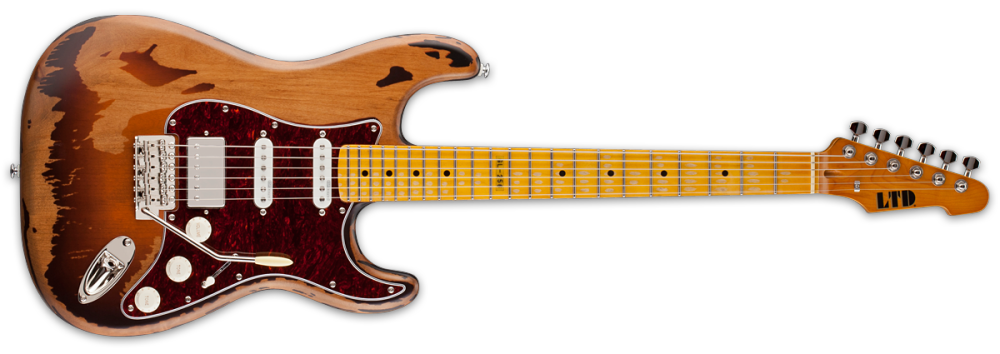 esp guitars ltd george lynch electric guitar distressed 2 tone burst long mcquade musical. Black Bedroom Furniture Sets. Home Design Ideas