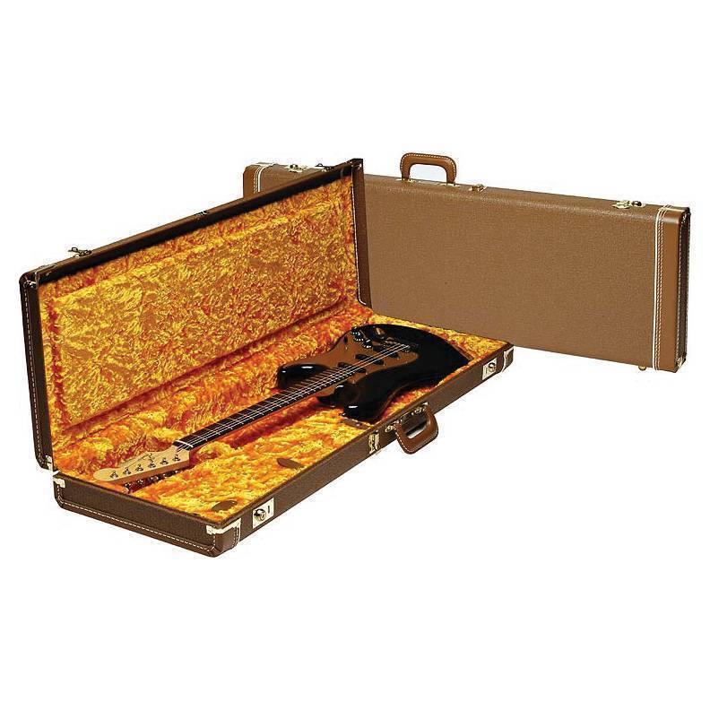 fender deluxe strat tele case brown w gold plush interior long mcquade musical instruments. Black Bedroom Furniture Sets. Home Design Ideas