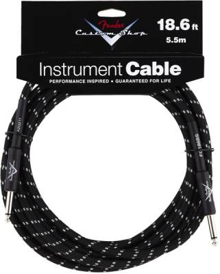 Custom Shop Instrument Cable, Black Tweed - 18.6 ft