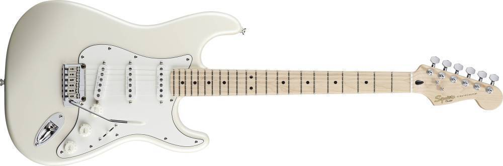 squier deluxe stratocaster pearl white metallic long mcquade musical instruments. Black Bedroom Furniture Sets. Home Design Ideas