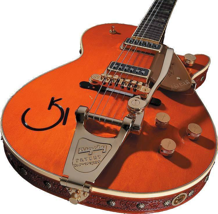 gretsch guitars g6121 1955 chet atkins electric guitar w leather trim tangerine long. Black Bedroom Furniture Sets. Home Design Ideas