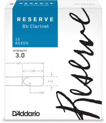 Reserve Bb Clarinet Reeds - Strength 3.0 - Pack of 10