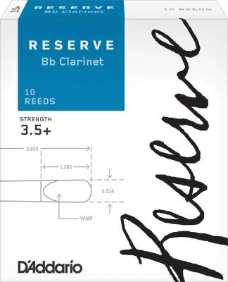 Reserve Bb Clarinet Reeds - Strength 3.5+ - Pack of 10
