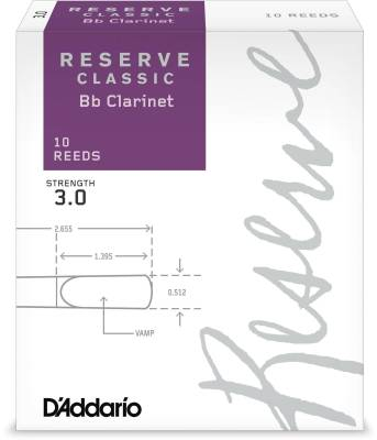 Reserve Classic Bb Clarinet Reeds - Strength 3.0 - Pack of 10