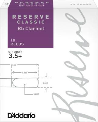 Reserve Classic Bb Clarinet Reeds - Strength 3.5+ - Pack of 10