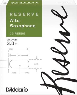 Reserve Alto Sax Reeds - Strength 3.0+ - Pack of 10