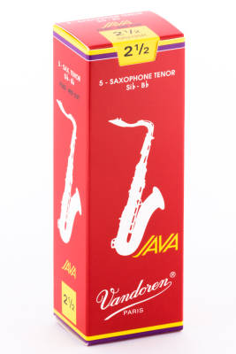Java Red Tenor Sax Reeds 2 1/2 Strength - Box of 5